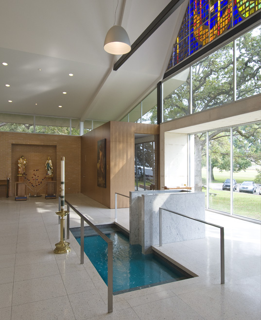 Baptismal font with conciliation chapel beyond Hester + Hardaway